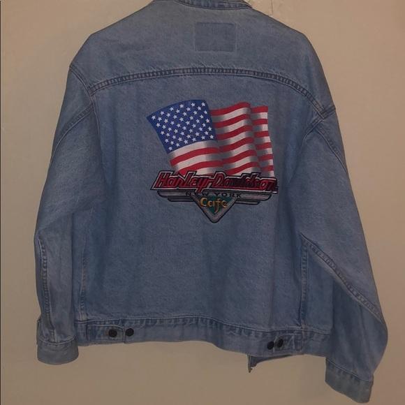 Men/'s HARLEY-DAVIDSON Motorcycle Button Front Denim Jean Jacket Large NWOT
